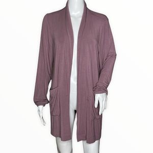 Duluth Open Cardigan Purple Jersey Knit Material Tie Back
